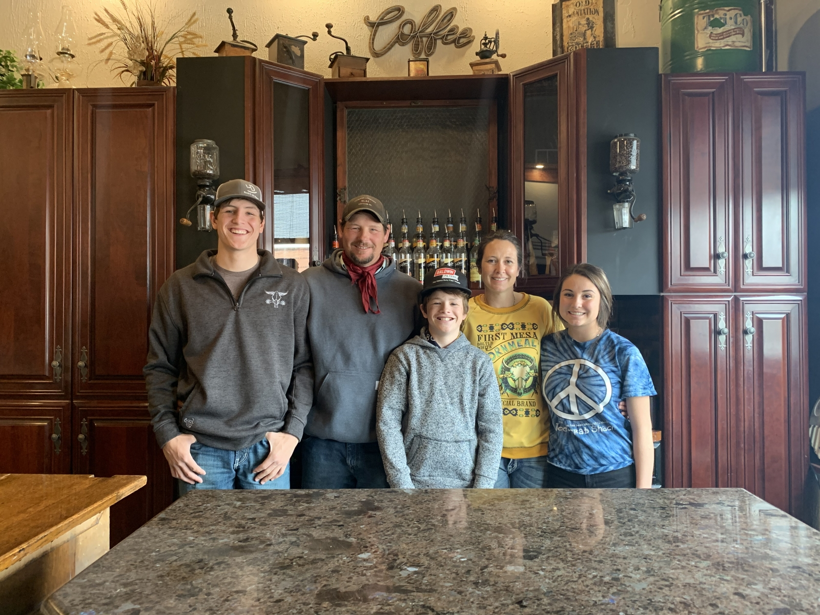 Pictured left to right: Kaden Vincent, Clint Vincent, Kyler Vincent, Emilee Hinn, and Sissy Hinn.