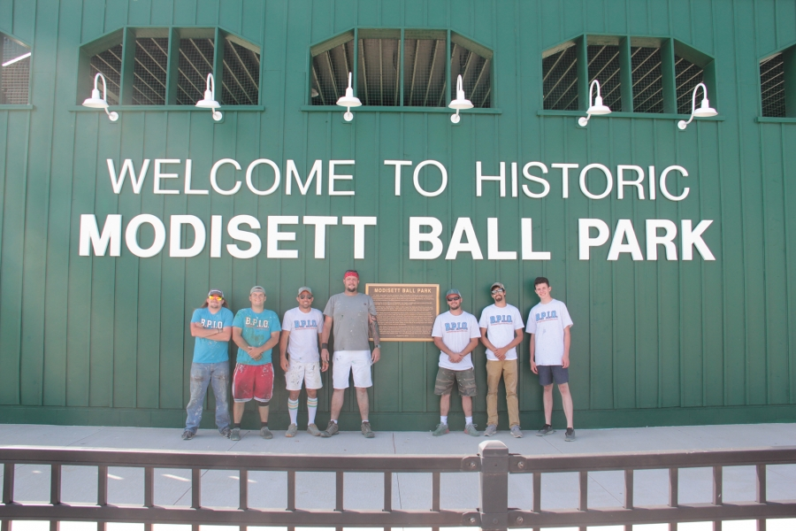 Cory Shedeed and six of his employees traveled to Rushville from the Omaha area last week to re-paint Modisett Ball Park. Cory has his own painting company, Cory Dean's Painting.